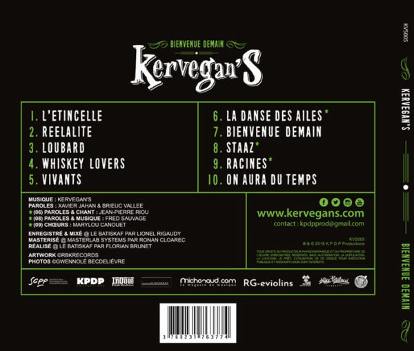 Kervegan's, album Bienvenue Demain (Back)
